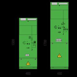 24 kV Leistungsschalterfeld 460 x 1300/1700 mm