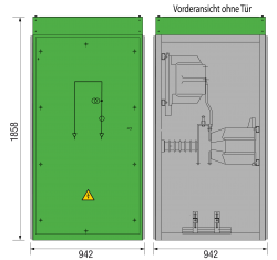 36 kV GISELA Messfeld 942 x 1273 x 1858 mm
