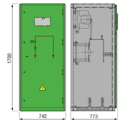 12 kV GISELA Messfeld 742 x 773 x 1700 mm