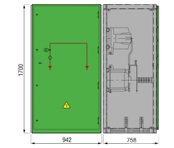 24 kV GISELA Messfeld 942 x 758 x 1700 mm