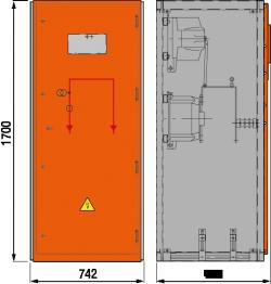 12 kV Messfeld 742 x 773 x 1700 mm