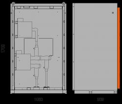 36 kV Messfeld 1060 x 909 x 1753 mm mit metallisierten Wandlern