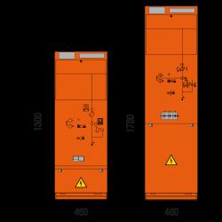 36 kV Leistungsschalterfeld 460 x 1300/1700 mm