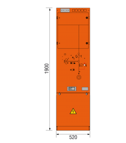 24 kV Leistungsschalterfeld 520 x 1900 mm