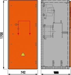 12 kV Messfeld 742 x 758 x 1700 mm
