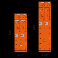 24 kV Kabelfeld 2x 210 x 1300/1700 mm