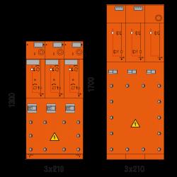 24 kV Kabelfeld 3x 210 x 1300/1700 mm