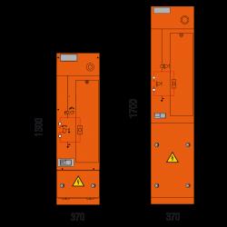 12 kV Trafofeld 370 x 1300/1700 mm (Tiefe 605 mm)