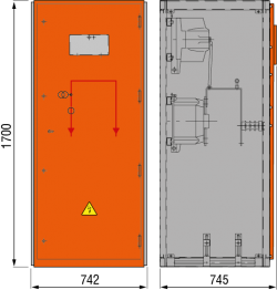 12kV Messfeld 742 x 745 x 1700 mm