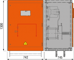 24 kV Messfeld 942 x 745 x 1300 mm